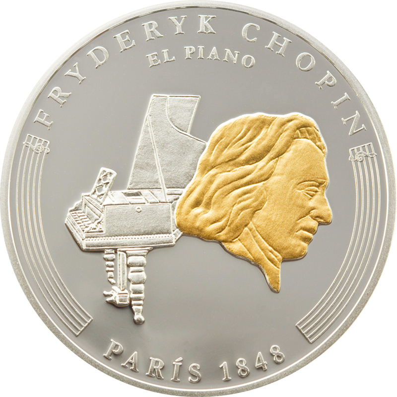 Andorra 2009 8x 10 Diners Life of Chopin Silver Coin