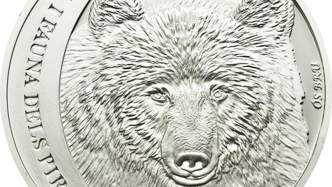 Andorra 2010 5 Diners Cantabria Brown Bear Silver Coin