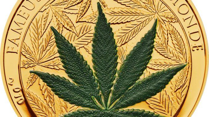 Benin 2010 100 Francs Cannabis Sativa CuNiAu Gold Coin