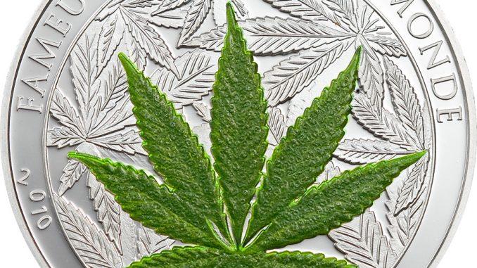 Benin 2010 1000 Francs Cannabis Sativa AG Silver Coin