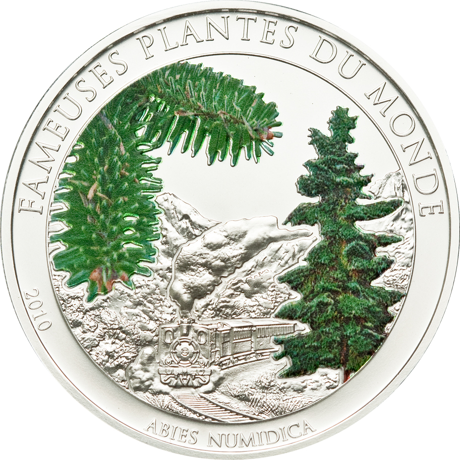 Benin 2010 100 Francs Abies Numidica Alpine Smell Silver Coin