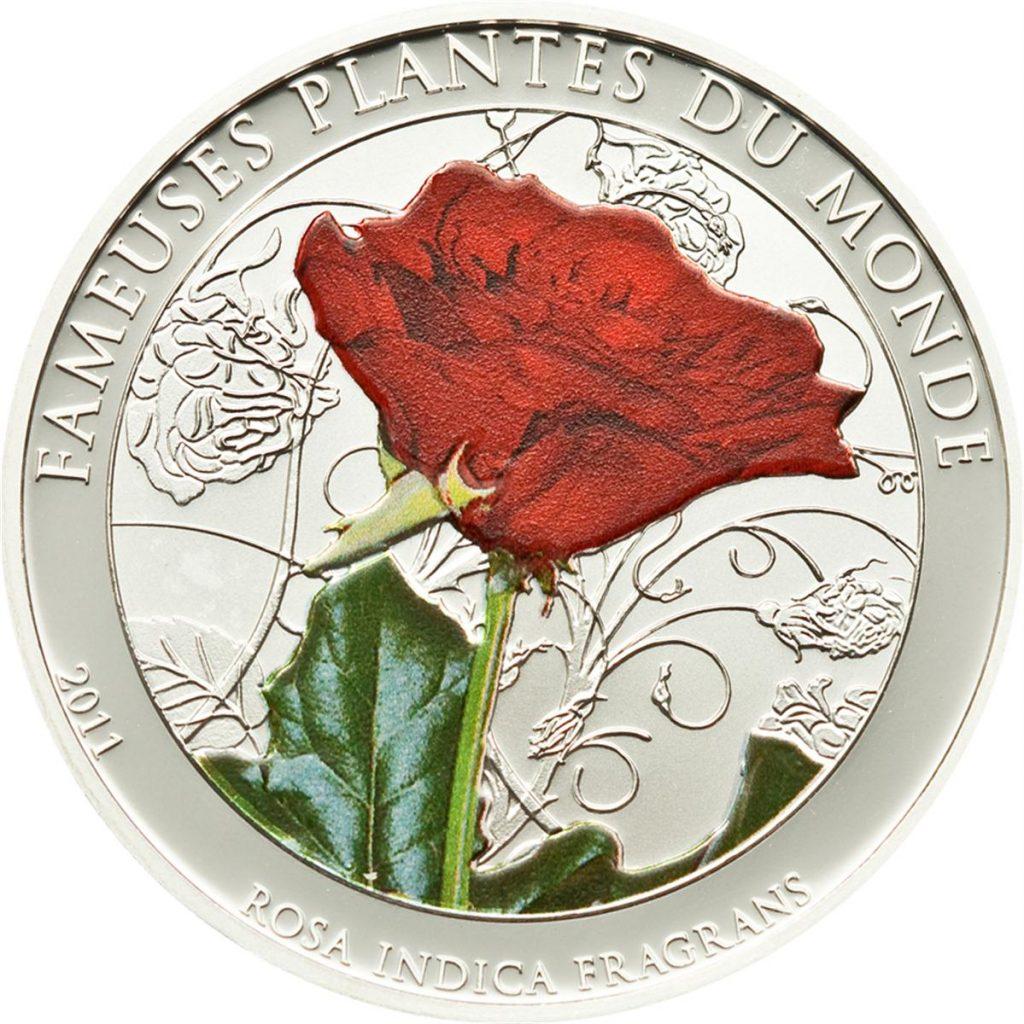 Benin 2011 100 Francs Rosa Indica Fragrans Silver Coin