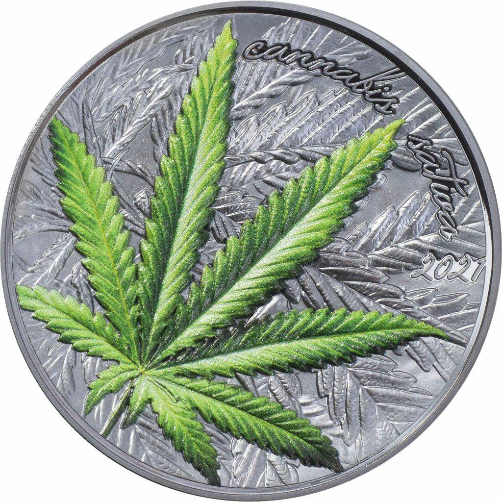 Benin 2021 1000 Francs Cannabis Sativa High Relief Black Proof