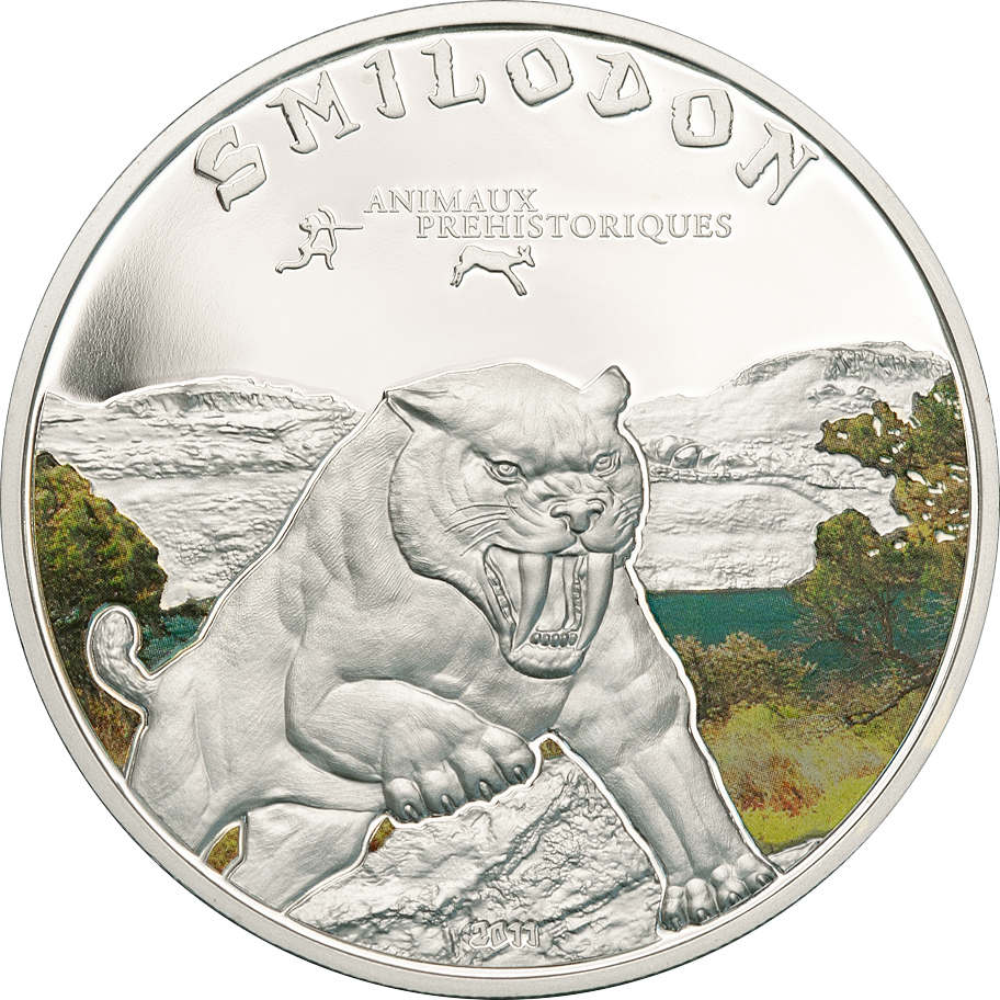 Ivory Coast 2011 1000 Francs Sabre Tooth Tiger Silver Coin