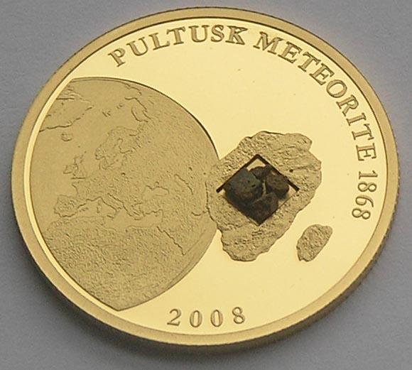 Cook Islands 2008 25 dollars Meteorite Pultusk Gold Coin