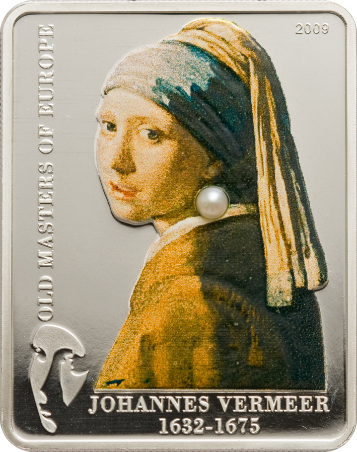 Cook Islands 2009 5 Dollars Johannes Vermeer Girl with Pearl Silver Coin
