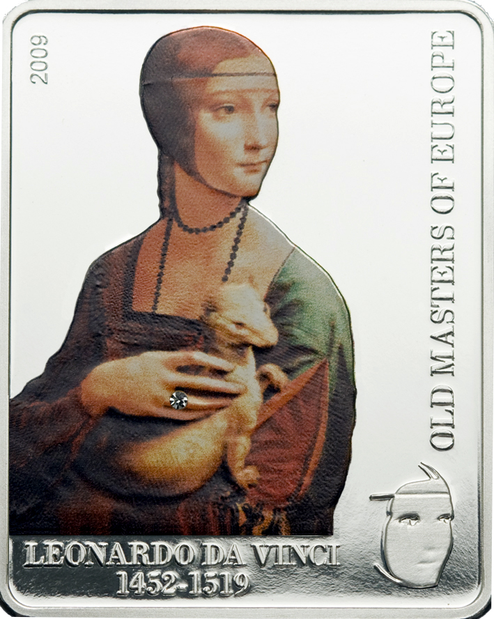 Cook Islands 2009 5 Dollars Da Vinci Lady with Ermine Silver Coin