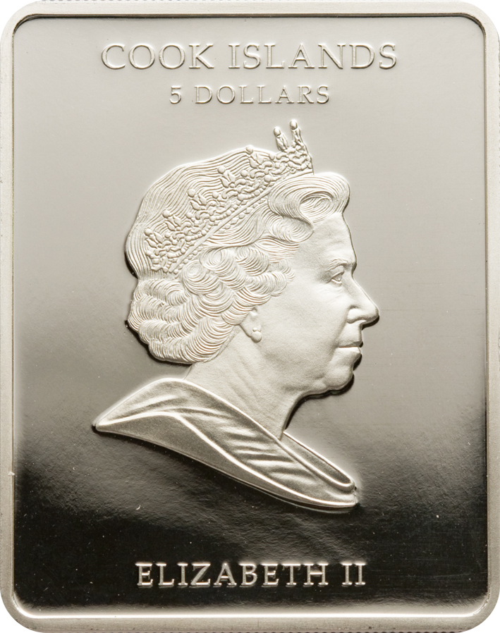 Cook Islands 2009 5 Dollars Da Cinvi Lady with Ermine Gilded Silver Coin