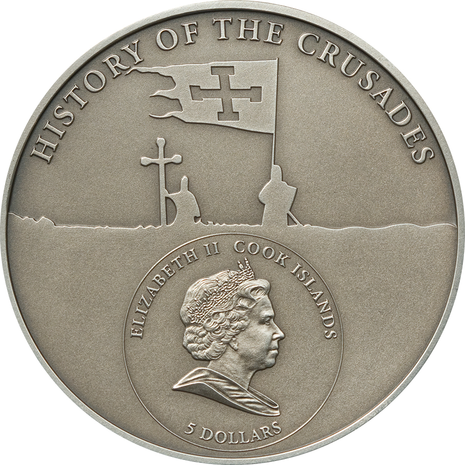Cook Islands 2009 5 Dollars 2nd Crusade Louis VII of France Silver Coin