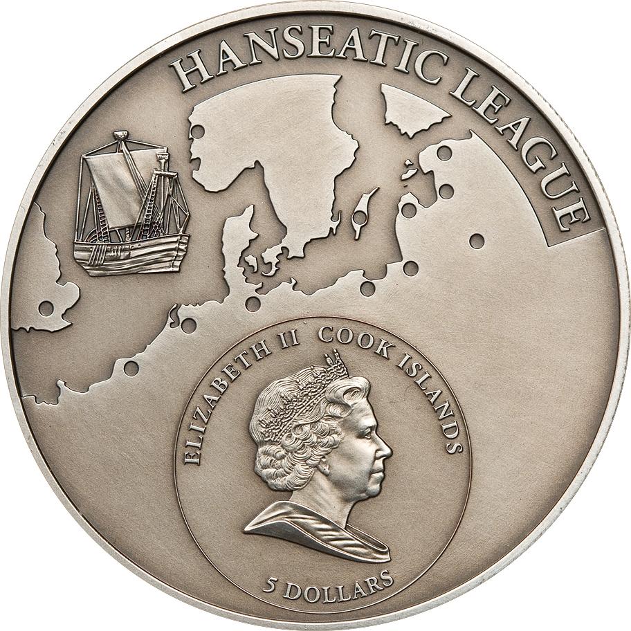 Cook Islands 2009 5 Dollars Gdansk Poland Silver Coin