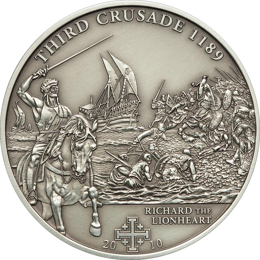 Cook Islands 2010 5 Dollars 3rd Crusade Richard the Lionheart Silver Coin