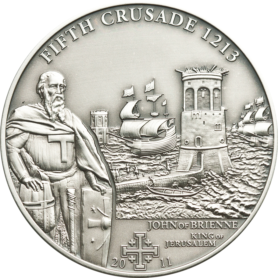 Cook Islands 2011 5 Dollars 5th Crusade Jogn of Brienne Silver Coin