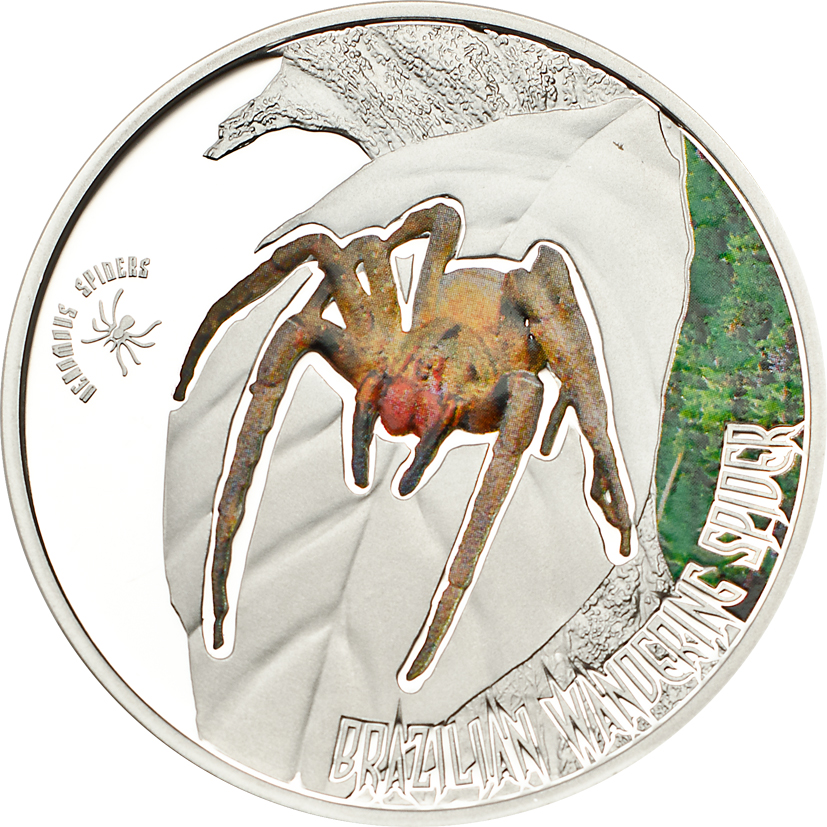 Cook Islands 2013 2 Dollars Brazilian Wandering Spider Silver Coin