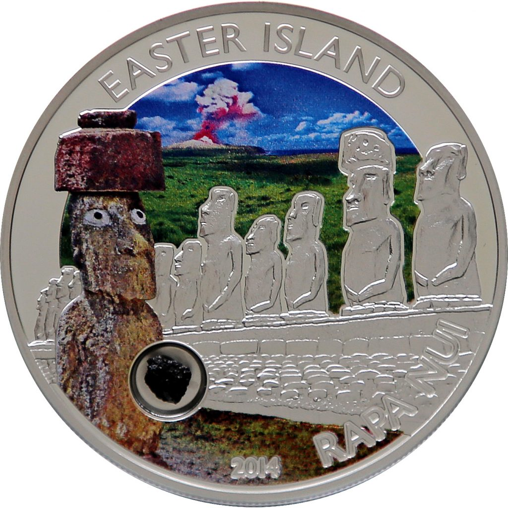 Cook Islands 2014 5 Dollars Easter Island Rapa Nui Moai Silver Coin