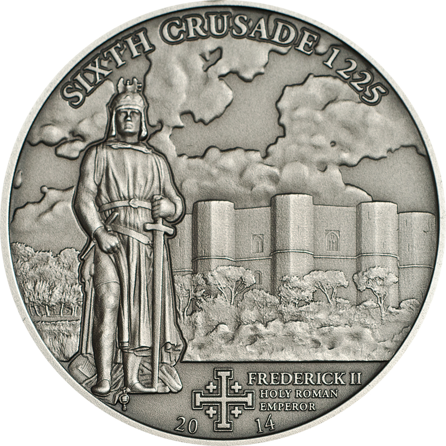 Cook Islands 2014 5 Dollars 6th Crusade Frederick II Silver Coin