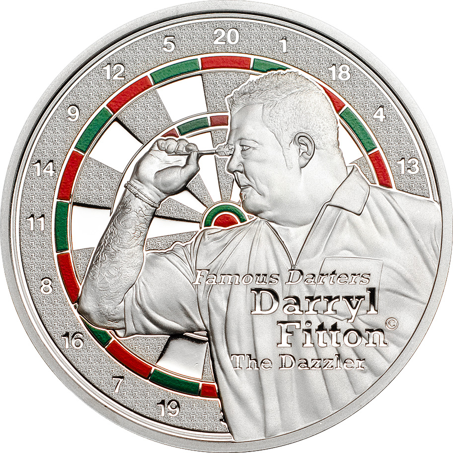 Cook Islands 2014 1 Dollar Famous Darters Fitton Silver Coin