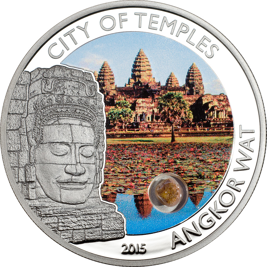 Cook Islands 2015 5 Dollars City of Temples Angkor Wat Silver Coin