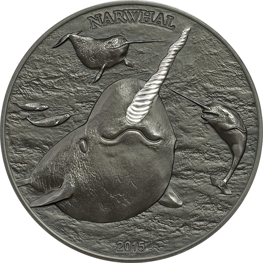 Cook Islands 2015 5 Dollars Narwal Silver Coin