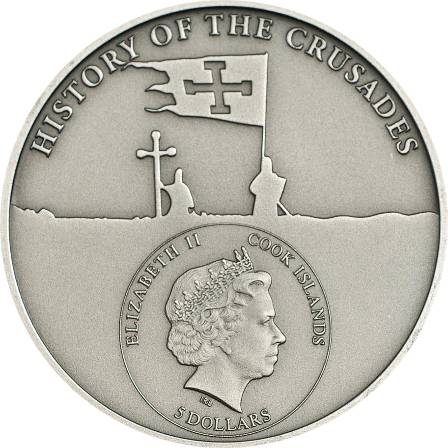 Cook Islands 2015 5 Dollars 7th Crusade Saint Louix IX Silver Coin