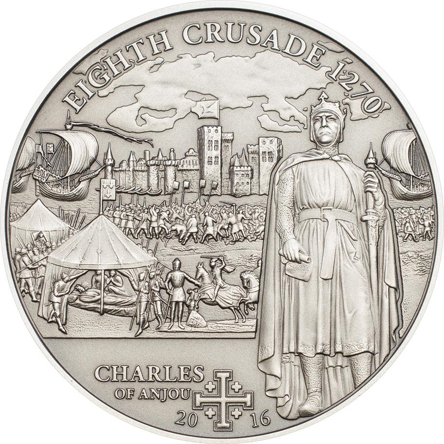 Cook Islands 2016 5 Dollars 8th Crusade Charles of Anjou Silver Coin