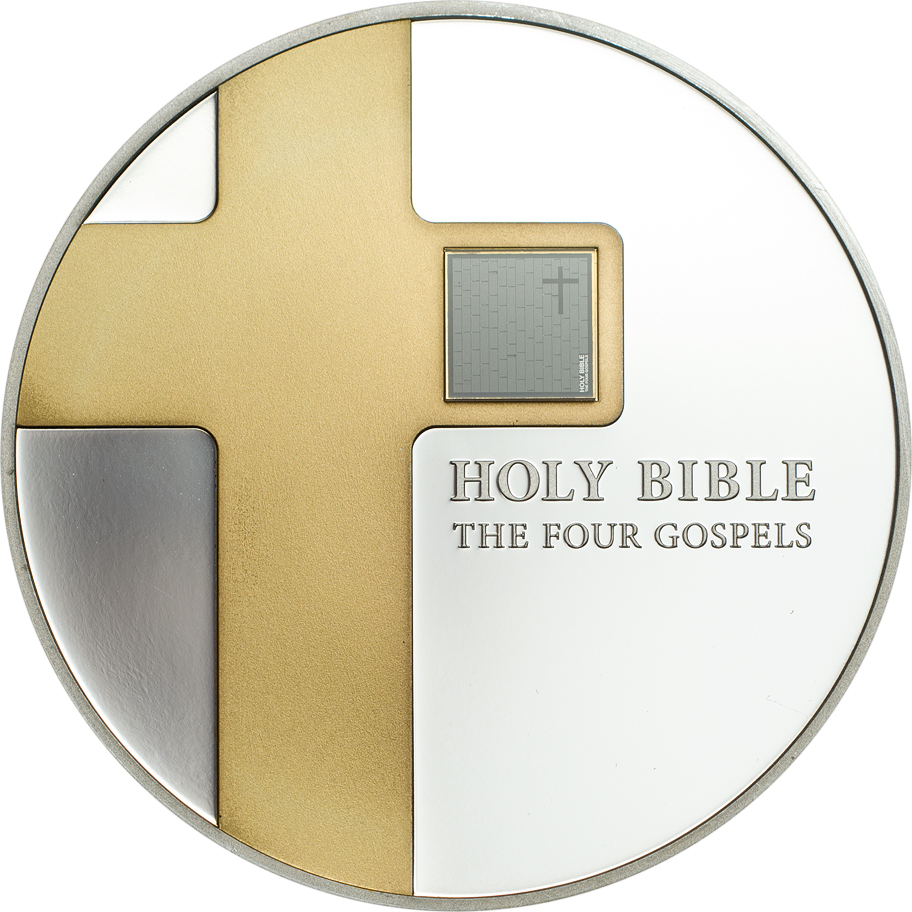 Cook Islands 2016 5 Dollars The Holy Bible Four Gospels Silver Coin