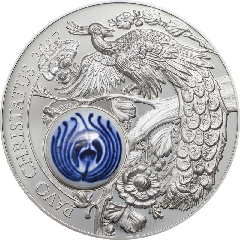 Cook Islands 2017 10 Dollars Royal Delft Peacock Pavo Christatus Silver Coin