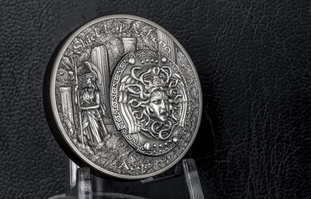 Cook Islands 2018 10 Dollars Shield of Athena Aegis Silver Coin