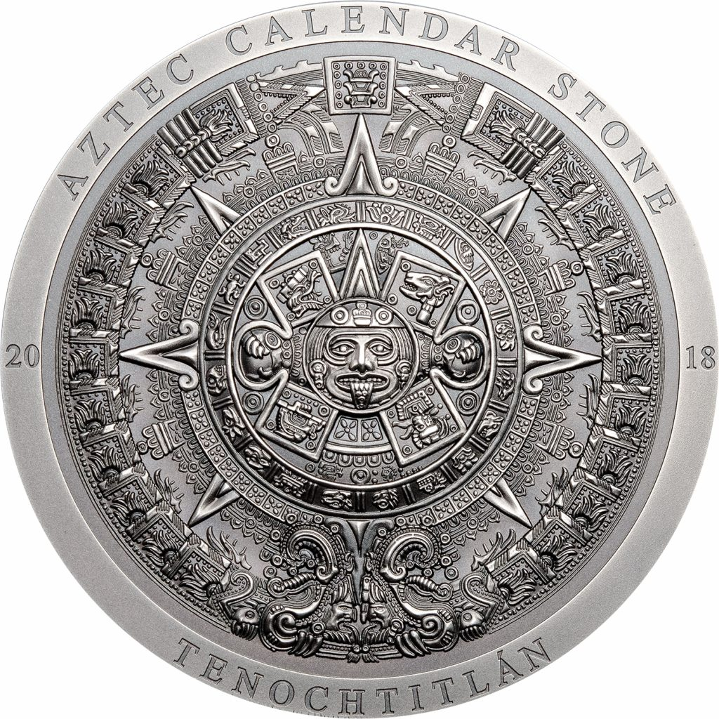 Cook Islands 2018 20 Dollars Aztec Calendar Silver Coin