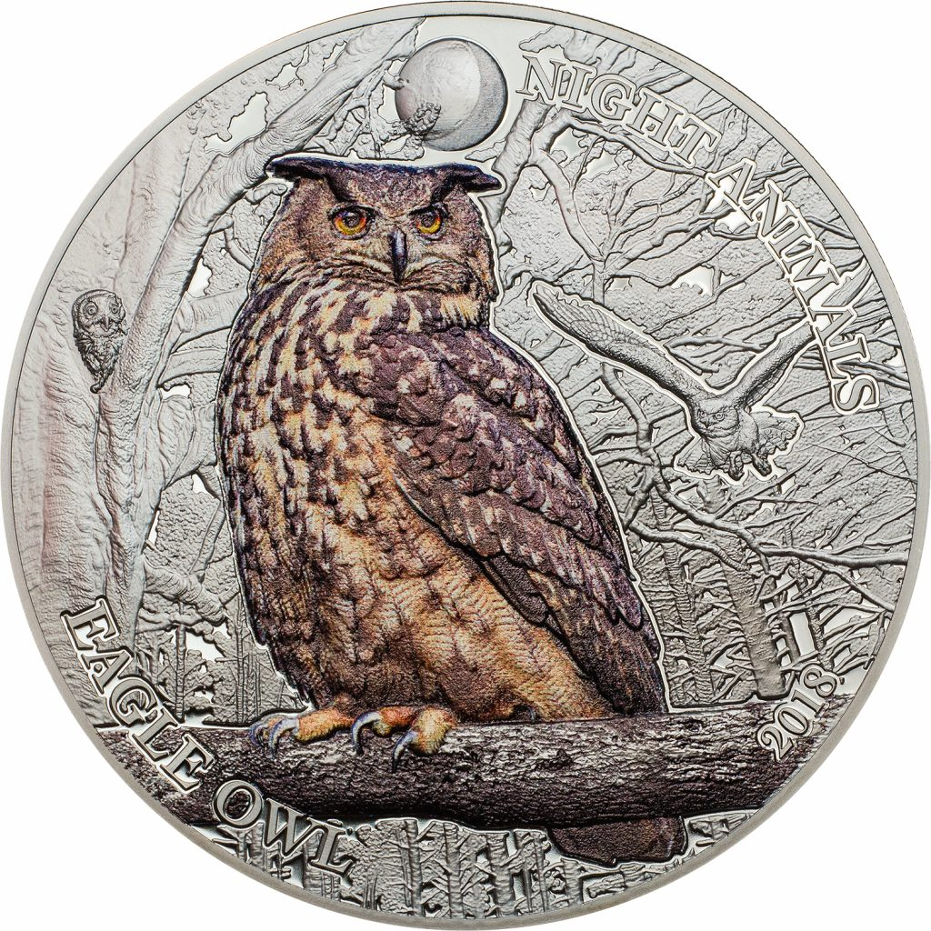 Cook Islands 2018 5 Dollars Eagle Owl Silver Coin