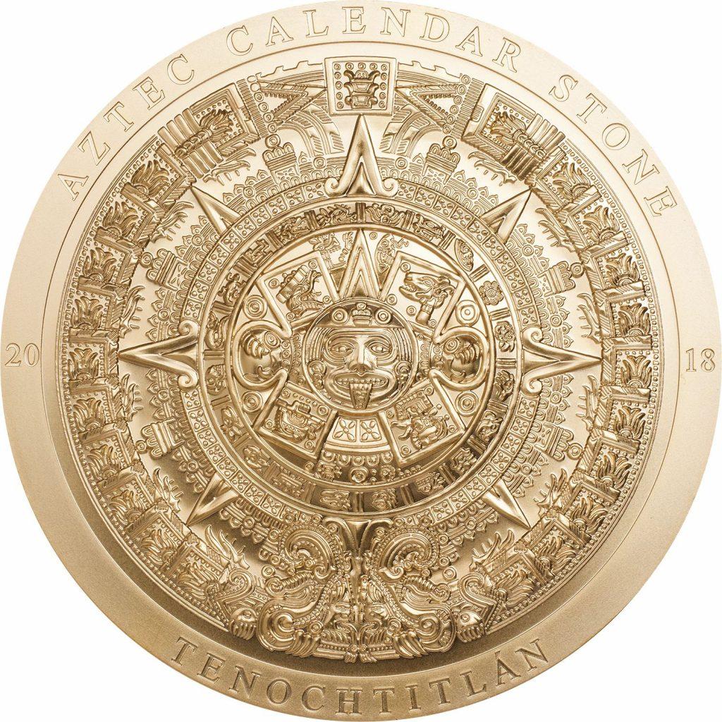 Cook Islands 2018 20 Dollars Aztec Calendar Stone Gilded Golden Coin