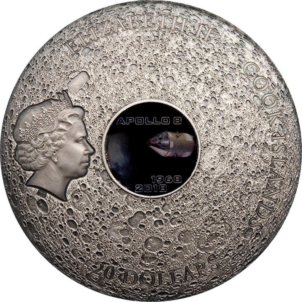 Cook Islands 2018 20 Dollars Meteorite Moon Apollo 8 50th Anniversary Edition Silver Coin