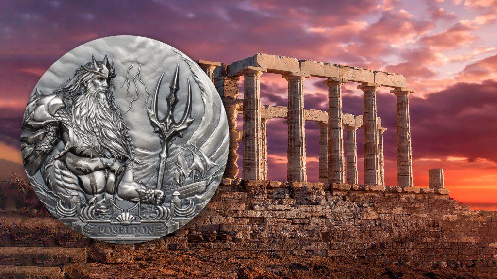 Cook Islands 2019 20 Dollars Poseidon God of the Sea Silver Coin