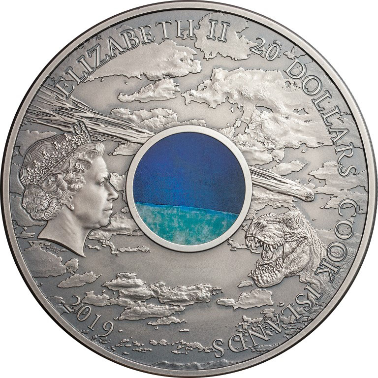 Cook Islands 2019 20 Dollars Meteorite Chicxulub Crater Silver Coin