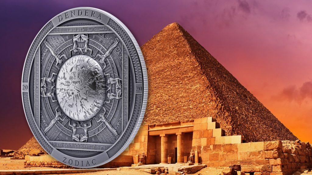 Cook Islands 2020 20 Dollars Dendera Zodiac Egypt Silver Coin