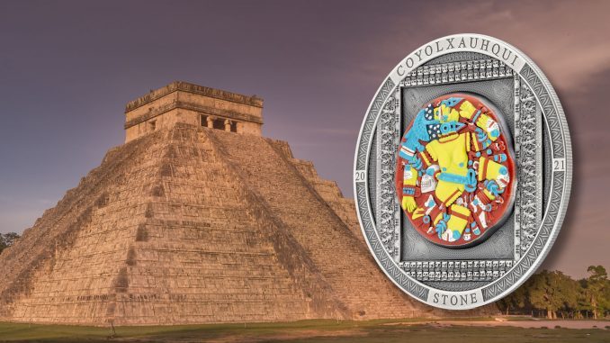 Cook Islands 2021 20 Dollars Aztec Coyolxauhqui Stone Antiqued - Archeology & Symbolism silver coin