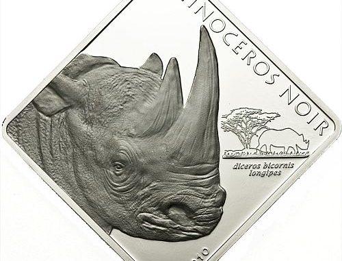 Cameroon 2010 1500 Francs Rhinoceros Noir Silver Coin