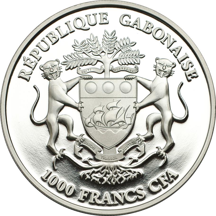 Gabon 2013 1000 Francs Eagle Harpagornis Moorei Silver Coin