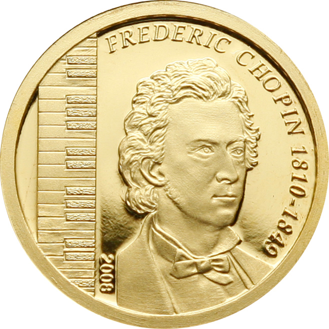 Mongolia 2008 1000 Togrog Frederic Chopin Silver Coin