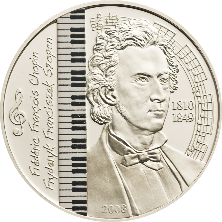 Mongolia 2008 500 Togrog Frederic Chopin Silver Coin