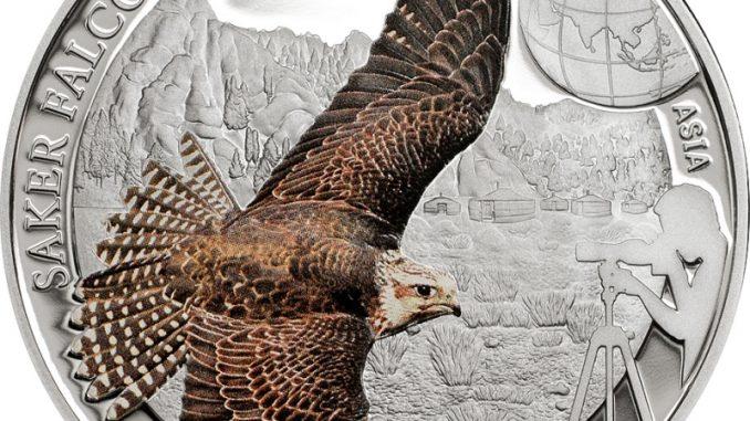 Mongolia 2015 250 Tugrik Saker Falcon Silver Coin