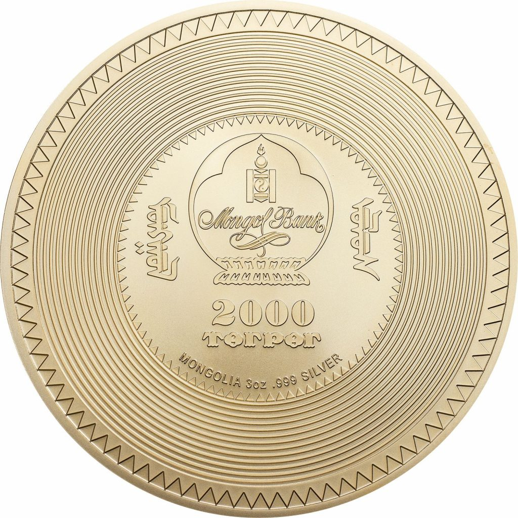 Mongolia 2019 2000 Togrog Kalachakra Mandala Gilded Golden Coin