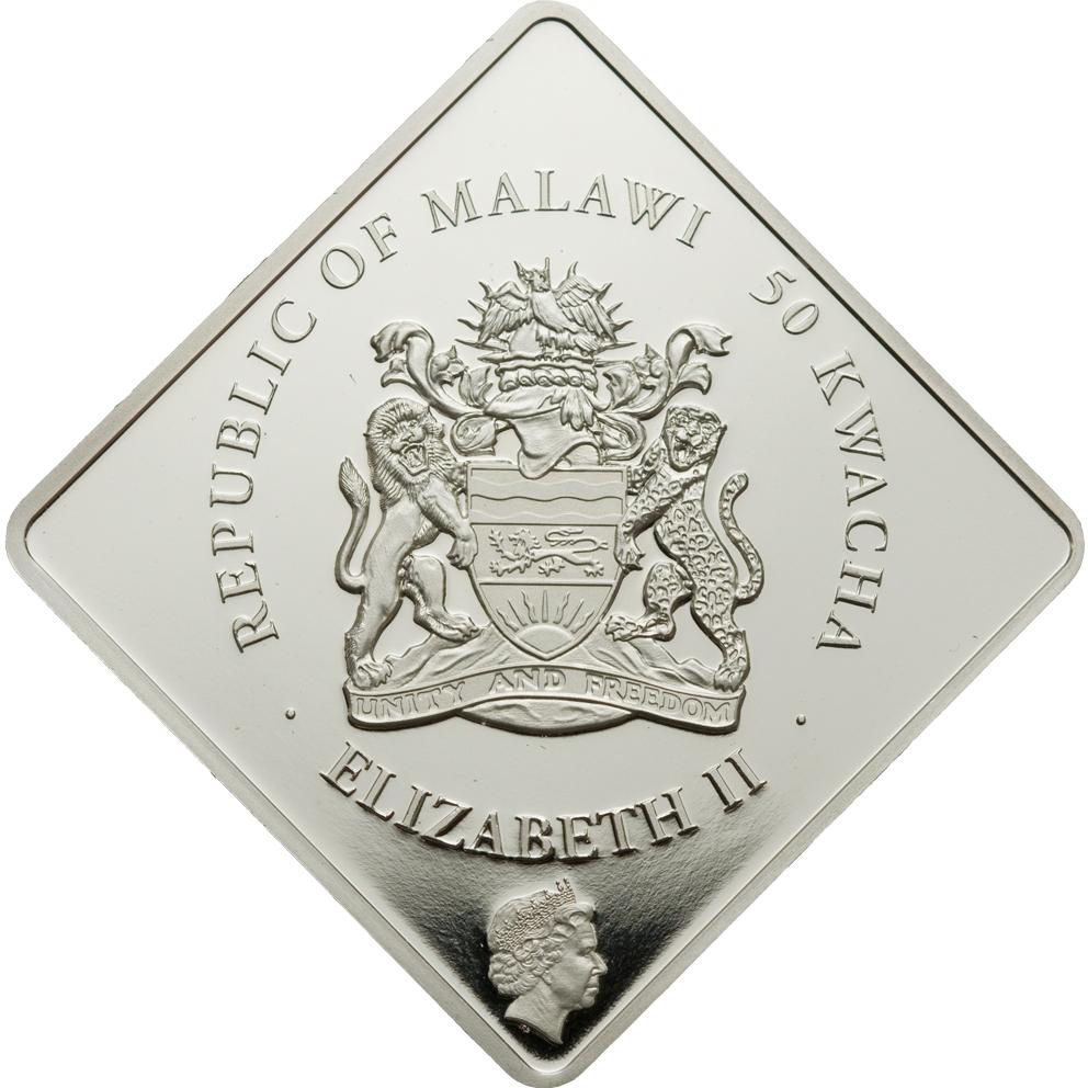Malawi 2009 50 Kwacha The White Lion Ag Silver Coin