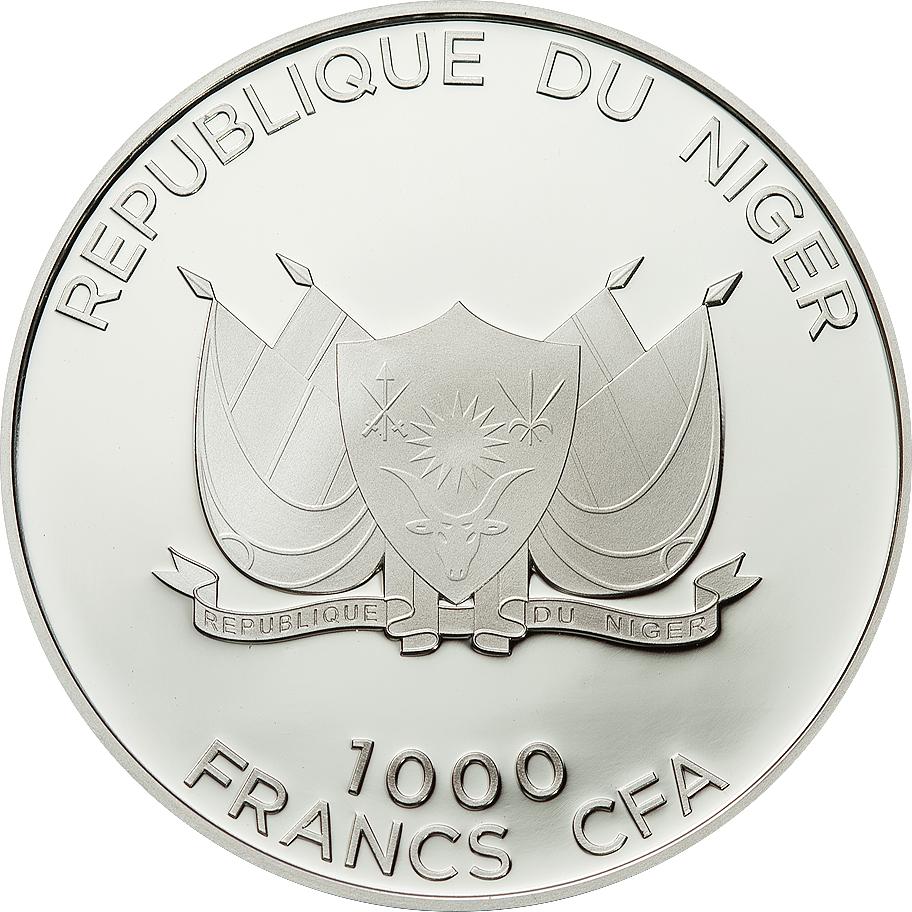 Niger 2012 1000 Francs Side Striped Jackal Silver Coin