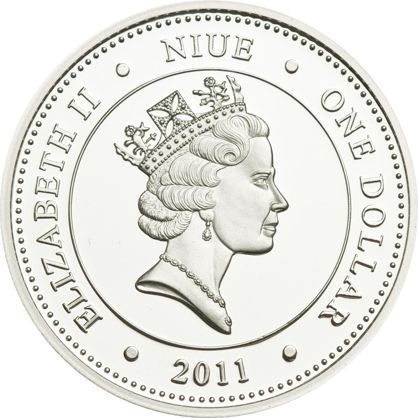 Niue 2011 1 Dollar Cave of Tadrart Elephant Silver Coin
