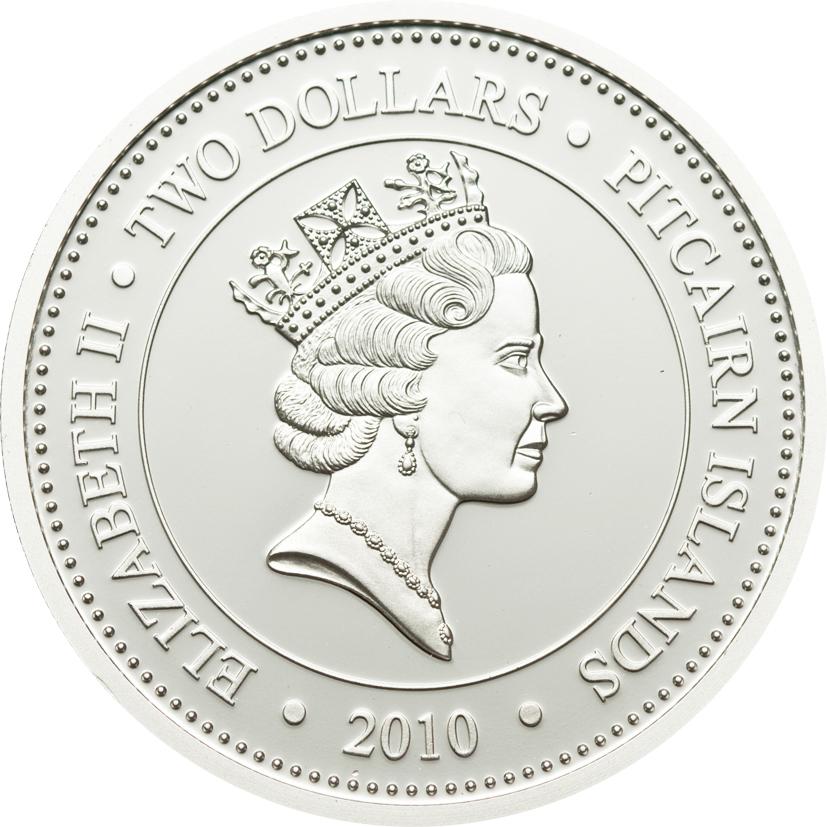 Pitcairn Islands 2010 2 Dollars Lanternfish Silver Coin