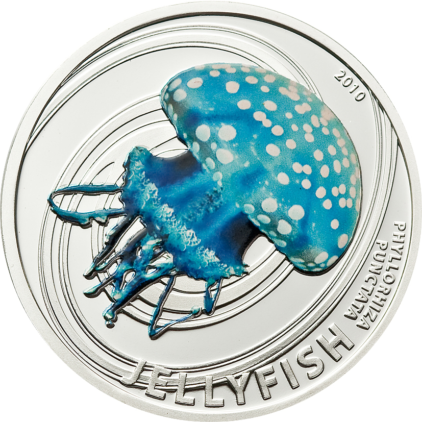 Pitcairn Islands 2010 2 Dollars White Spotted Australian Jelly Fish Silver Coin
