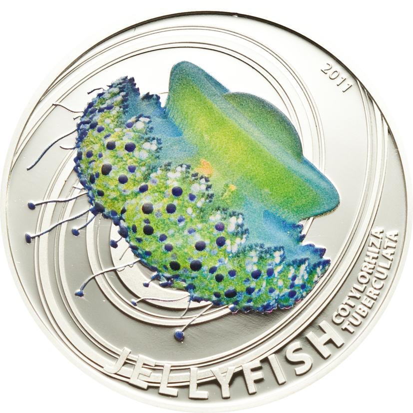 Pitcairn Islands 2011 2 Dollars Cotylorhiza Tuberculata Silver Coin