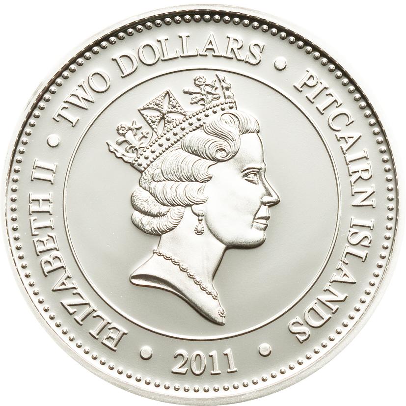 Pitcairn Islands 2011 2 Dollars Anoplogaster Cornuta Silver Coin
