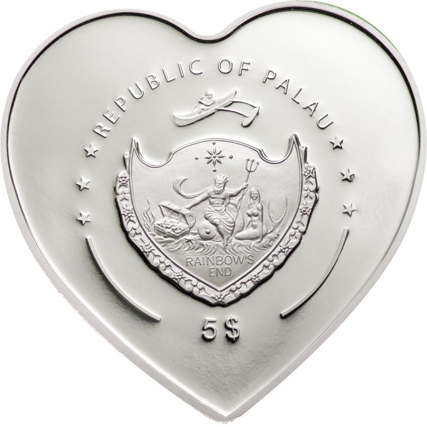 Palau 2009 5 Dollars Lady Bug in Cloisonn Silver Coin