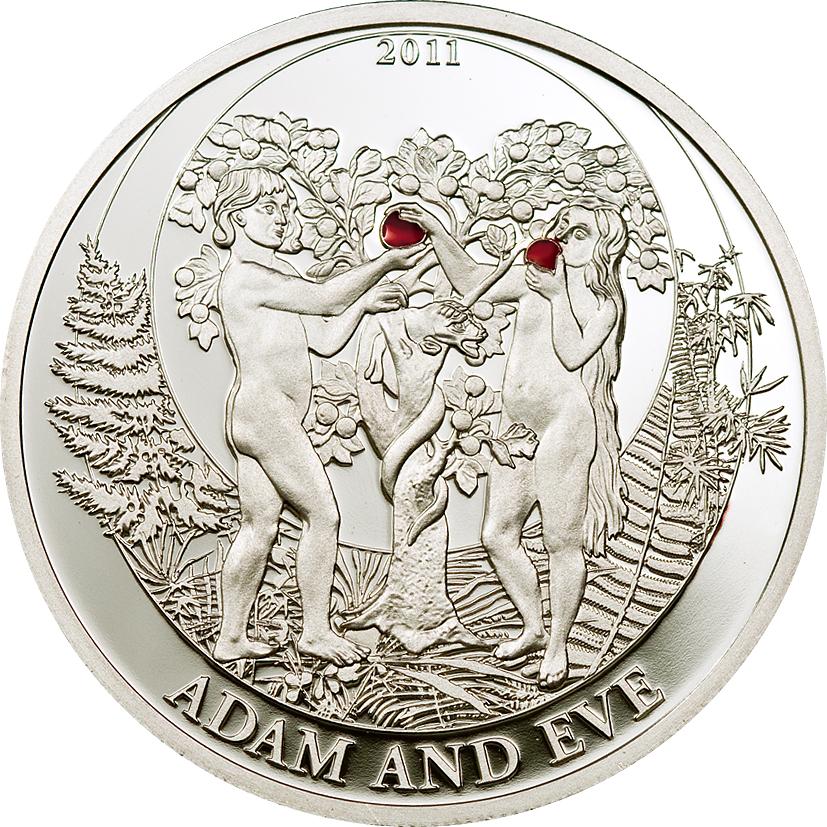 Palau 2011 2 Dollars Adam Eve Silver Coin